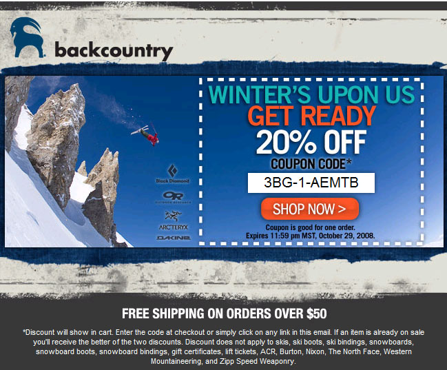 Backcountry coupon code 20 off